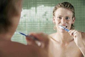 Dental Implant Patient, Teeth Brushing